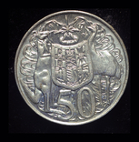 Австралия 50 центов 1966 Unc серебро 13.28 грамм 800 пробы, фото №2