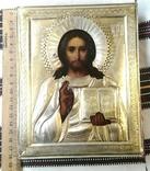 Икона в киоте. Господь Вседержитель, в серебряном окладе, фото №7