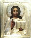 Икона в киоте. Господь Вседержитель, в серебряном окладе, фото №12