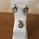 Серьги, кулон. Лунный камень. 925 пр. 80-е. Индия, 7,0 гр., фото №2
