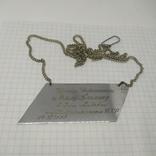 Металлический шильдик от подарка Дерюгиной и Блохину на Свадьбу. Футбол, фото №2