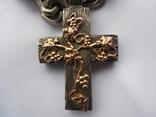 Серебряная цепь с крестом Христос Воскрес . 261 грамм (лоза золотая 7+ грамм), фото №5