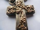 Серебряная цепь с крестом Христос Воскрес . 261 грамм (лоза золотая 7+ грамм), фото №6