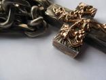 Серебряная цепь с крестом Христос Воскрес . 261 грамм (лоза золотая 7+ грамм), фото №8