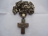 Серебряная цепь с крестом Христос Воскрес . 261 грамм (лоза золотая 7+ грамм), фото №10