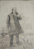 Одесса, НХ, В.Ленин, эскиз к картине, бумага,к.29*19см, фото №2