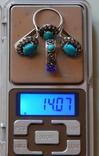 Натуральный гарнитур из  бирюзы с фианитами из 6 предметов 60-70г, фото №13