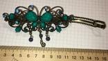 Металлическая заколка для волос: бабочка / искуственная бирюза, фото №3
