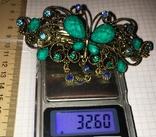 Металлическая заколка для волос: бабочка / искуственная бирюза, фото №2