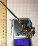 Металлическая заколка, шпилька для волос с подвеской / искуственная бирюза, фото №2