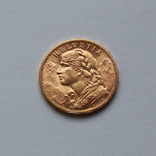 20 франков 1916 Швейцария. Золото 6,48г, фото №2