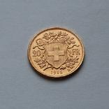 20 франков 1916 Швейцария. Золото 6,48г, фото №3