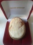 Камея на раковине 4,5 на 3,5см серебро, позолота, фото №5