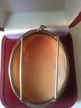 Камея на раковине 4,5 на 3,5см серебро, позолота, фото №6