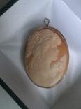 Камея на раковине 4,5 на 3,5см серебро, позолота, фото №2