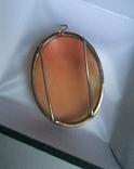 Камея на раковине 4,5 на 3,5см серебро, позолота, фото №10