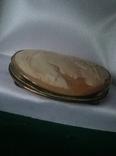 Камея на раковине 4,5 на 3,5см серебро, позолота, фото №11