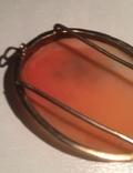 Камея на раковине 4,5 на 3,5см серебро, позолота, фото №13