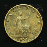 Великобритания фартинг 1861, фото №2