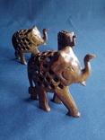 """Композиция """"Три слона с поднятыми хоботами"""" - символ процветания. Резьба по дереву, фото №3"""