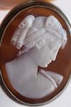 Кулон-брошь камея в серебре, фото №2