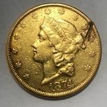 20 долларов США 1874 г. 900 пр. 33,4 гр., фото №3