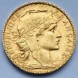 20 франков. 1905. Франция. Петух (золото 900, вес 6,45 г), фото №3