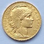 """20 франков. 1907. """"Петух"""". Франция (золото 900, вес 6,45 г), фото №2"""