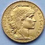 20 франков. 1908. Петух. Франция (золото 900, вес 6,43 г), фото №3