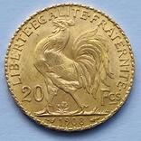 20 франков. 1908. Петух. Франция (золото 900, вес 6,43 г), фото №4