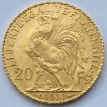 """20 франков. Франция """"Петух"""". 1911 (вес 6,45 г., проба 900), фото №3"""