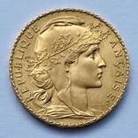 20 франков. 1912. Петух. Франция (золото 900, вес 6,47 г), фото №3