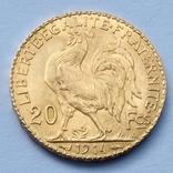 """20 франков. 1914. """"Петух"""". Франция (золото 900, вес 6,45 г), фото №3"""