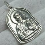 Серебряный Кулон Святой Николай Чудотворец Богородица Тверская Серебро 925 проба 914