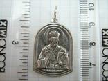 Серебряный Кулон Святой Николай Чудотворец Богородица Тверская Серебро 925 проба 914 фото 3