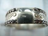 Серебряное Кольцо Узор Камни Размер 18.25 Серебро 925 проба 025 фото 5