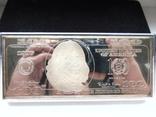 Серебряная Банкнота 100 долларов США.4 унции серебра 999.9 пробы. С 1 гривны., фото №2