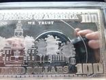 Серебряная Банкнота 100 долларов США.4 унции серебра 999.9 пробы. С 1 гривны., фото №9
