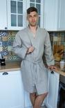 Чоловічий халат з натурального нефарбованого льону, фото №2