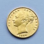 1 фунт (соверен) Великобритания. 1866 (проба 917, вес 7,96 г), фото №2