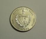 Куба, 5 песо 1986 - Чемпионат мира по футболу в Мексике - серебро 999, фото №3