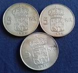 5 крон 1954, 1955, 1971. Швеція., фото №2