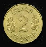 Исландия 2 кроны 1963 Unc, фото №2