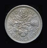 Великобритания 6 пенсов 1966, фото №2
