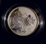 Красный Огненный Дракон с натуральным рубином - серебро 999, 2 унции, тираж 888 штук, фото №2