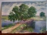 """Пейзаж """"Старый мостик"""" автор Харченко В.Т. 69*49 см., фото №2"""