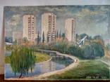 """Пейзаж """"Старый мостик"""" автор Харченко В.Т. 69*49 см., фото №3"""