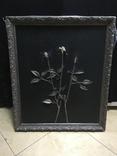 "Картина ""Троянды"" розы покрытые серебром на кожаном холсте, фото №2"