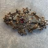 Серебряная брошь с алмазами, 48 шт, фото №6