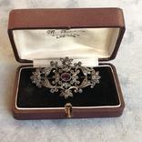 Серебряная брошь с алмазами, 48 шт, фото №2